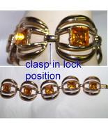 vintage bracelet chunky citrine square stones paste - $12.50