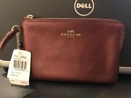 NWT Coach Wristlet Crossgrain Leather Corner Zip Wallet Metallic Cherry F54626 - $36.62
