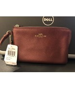 NWT Coach Wristlet Crossgrain Leather Corner Zip Wallet Metallic Cherry ... - $36.62