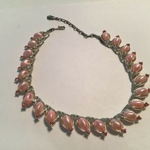Vintage Lisner Pearly Pink Lucite Pink Rhinestone Silver Tone Link Necklace - $17.82