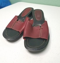 Montego Bay club leather collection womens size 9 slip on heel red strap... - $12.19
