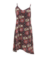 Xhilaration Juniors Red Yellow Printed V-Neck Sleeveless Dress Size Medium - $14.85