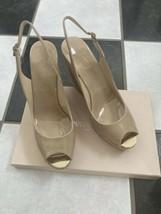 NIB 100% AUTH Jimmy Choo Prova 120 Patent-leather Slingback Wedge Sandals 40.5 - $295.02