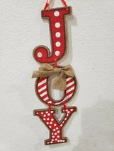 Christmas Red White Stacked JOY Hanging Sign Home Wall Decor  - $15.99