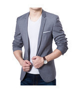 Men's Single Button Blazers Jacket - £27.98 GBP