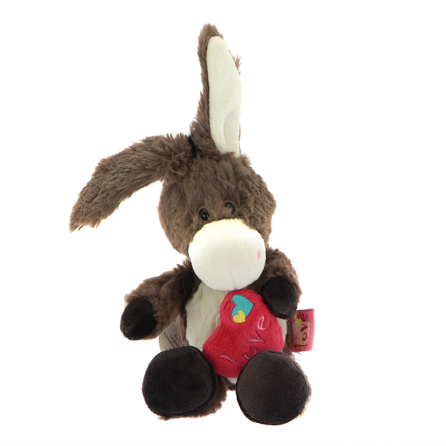 NICI Donkey Brown Red Heart Stuffed Animal Plush Toy Dangling 8 inches 20cm - $21.00