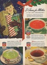 '45 Campbell's Soup Ad ~ Lady with Wrapped Christmas Gifts ~ 3 Cheers fo... - $9.99