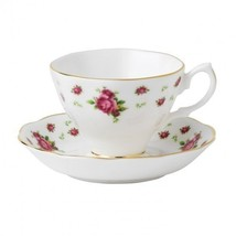 ROYAL ALBERT NEW COUNTRY ROSES WHITE VINTAGE TEACUP & SAUCER (S) NEW - $37.39