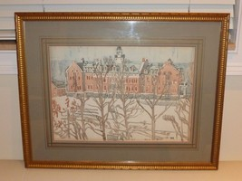 ORIGINAL ROW HOUSES FRAMED WATERCOLOR PAINTING SIGNED BY ARTIST - $700.00