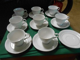 """Magnificent  BRENTWOOD """"White Lace"""" Pattern 8 Cups & Saucers & 1 FREE Sa... - $57.49"""