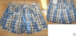 Girl's Size 8 Squeeze Jeans Cotton Shorts Blue Beige Tan Plaid Print New - $14.00