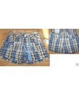 Girl's Size 8 Squeeze Jeans Cotton Shorts Blue Beige Tan Plaid Print New - $14.00