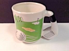 Golf Cup Mug 3D Emson Ball Club Handle white Green - $9.95