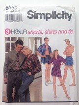 Simplicity 8150 AA XS-M 3 Hr Shorts Shirts Tie Pattern Uncut - $6.97