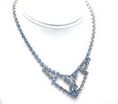 "Vintage Necklace Blue Rhinestone And Silver Tone Chevron Center Drop 14"" - $16.95"