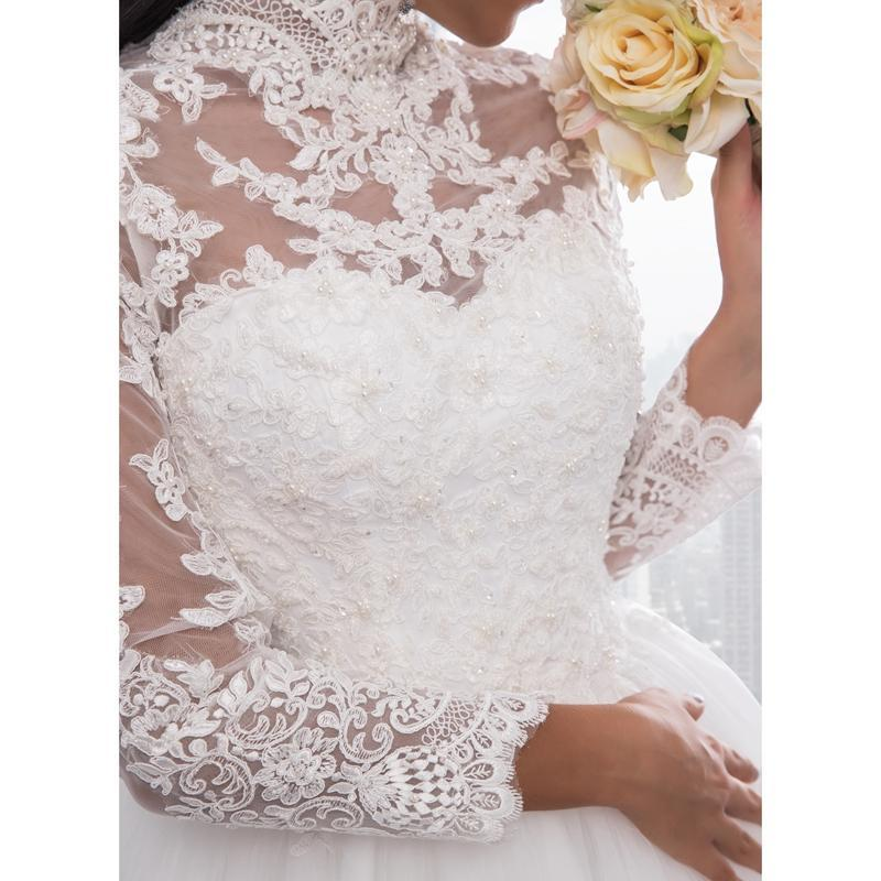 High Neck IIIusion Back Long Sleeve Wedding Dress Lace Ball Gown Wedding Gowns image 4