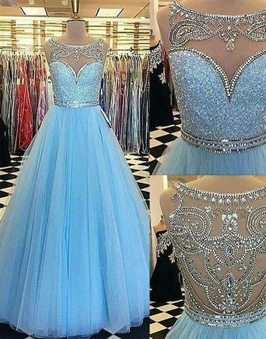 2017 Blue round neck tulle long prom dresses, blue evening dresses,BD1727