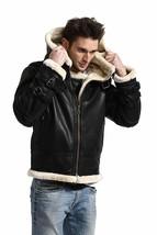 B3 Aviator Pilot White Fur Shearling Bomber Black Leather Jacket Winter Hoodie image 3