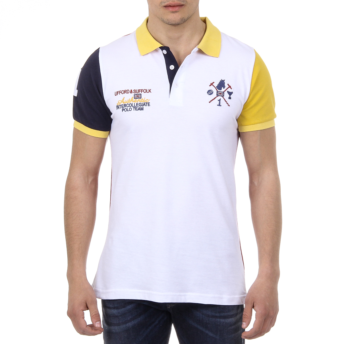 Primary image for Ufford & Suffolk Polo Club Mens Polo Short Sleeves US009 WHITE