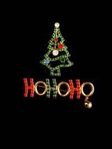 Vintage Christmas Tree brooch / ho ho ho bell brooch / Christmas gift for her /  image 2