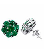 4Ct Round Cut Green Emerald Flower Halo Stud Earrings 14K White Gold Finish - $110.49