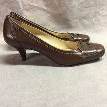 Cole Haan Brown Leather Closed Toe Slip On Loafers Kitten Heel Womens 8B - $44.54