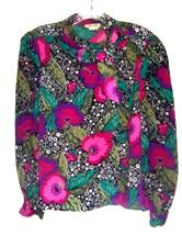 Sz S ~ Rhoda Lee Olive Green, Purple & Black Floral 100% Poly Long Sleev... - $28.49