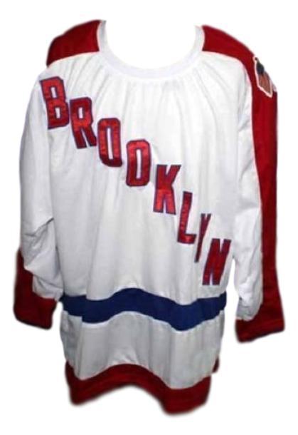 Custom name   brooklyn americans retro hockey jersey white   1