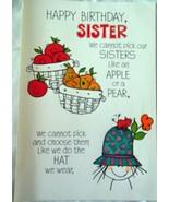 Hallmark Tri-Fold Fruit Cartoon Happy Birthday Sister  Card 1970s - $5.99