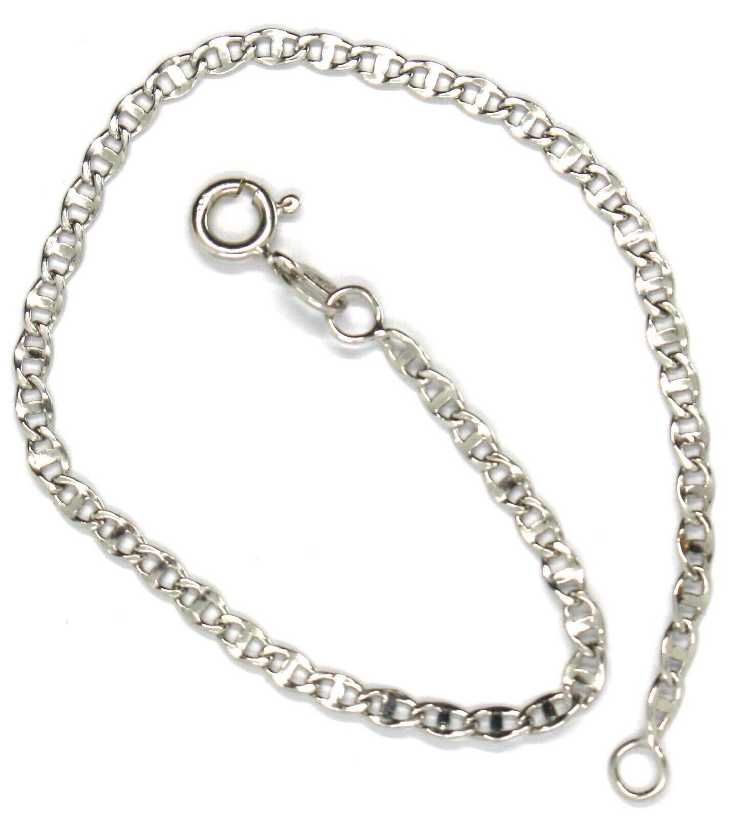 Bracelet or Blanc 18K 750, Jersey Marine, Bateau, Traverse Plat, 2.8 MM