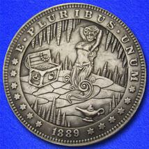 "Female Genie Treasure Lamp ""Hobo Nickel"" on Morgan Dollar Coin ** - $4.79"