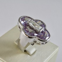 Silver Ring 925 Rhodium with with Crystals Purple and Crystal Clear image 1