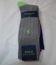 Men's Polo Ralph Lauren 3 pack Pair socks 10-13 custom fit 8439PK grey pink bl - $23.27