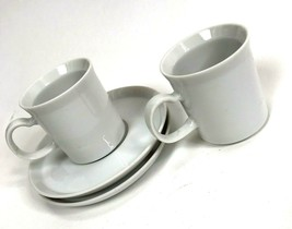 Set Of 2 VTG SMALL White TEA CUPS AND SAUCERS JAPAN Mod shabby kitchen - $13.85
