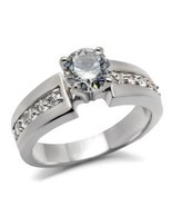 Stainless Steel Lady's Engagement , Wedding Ring W/ Clear Round Cut CZ, ... - $24.99