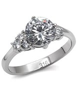 2 CT Stainless Steel Lady's Engagement , Wedding Ring W/ Clear Round CZ ... - $24.99