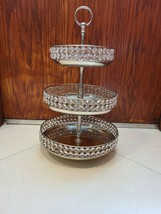 Vintage 3-Tier Stainless Dessert Stand Plates Detachable Beaded Crystal ... - $65.15