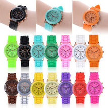 NEW Colorful Geneva Silicone Jelly Gel Quartz Analog Sport Wrist Watch W... - $7.19