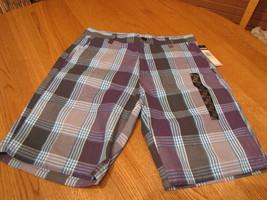 Boy's Zoo York shorts aqua blue plaid 30 NEW NWT surf skate school - $16.05
