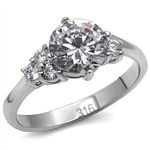 Primary image for 2 CT Stainless Steel Lady's Engagement , Wedding Ring W/ Clear Round CZ , Size 9
