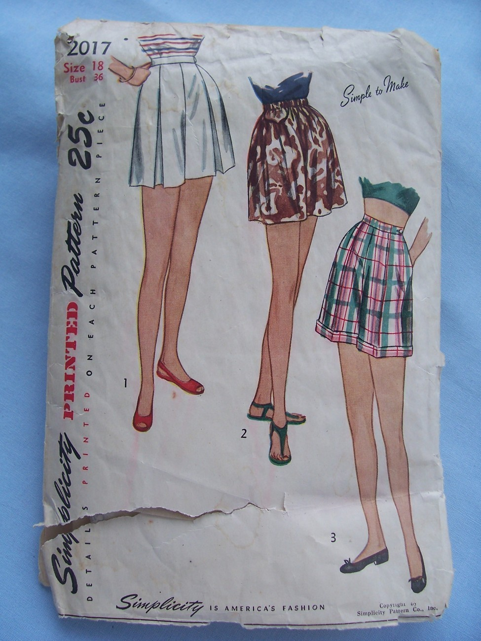 1947 Simplicity 2017 Misses Shorts W30 H39 Vintage Pattern Simplicity
