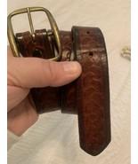 BELT Embossed Brown Vintage Leather Knot Stamped Belt 30 - $29.65