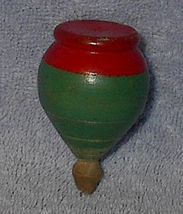 Vintage Wood Point Red and Green Spinning Top Toy - $10.00