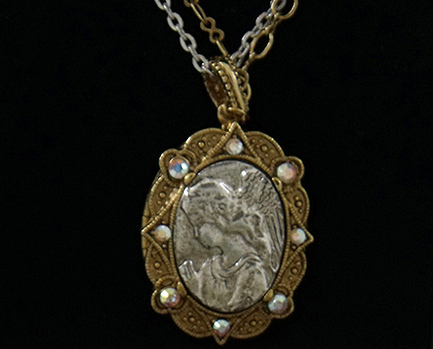 Primary image for Angel Medallion Locket Swarovski Crystals Necklace New