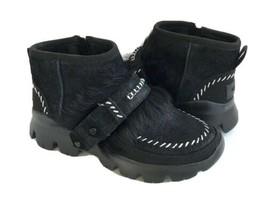 Ugg Fluff Punk Ankle Bomber Black Shearling Sneakers Boot Us 6 / Eu 37 / Uk 4 - $135.58