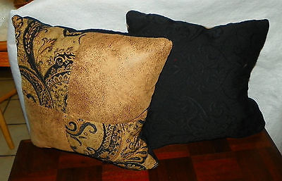 Pair of Taupe Gold Abstract Print Decorative Print Throw Pillows  12 x 12