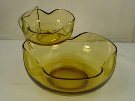 Anchor Hocking Accent Modern Chip and Dip Set Honey Gold 3 Pc Vintage Madmen MCM - $20.36
