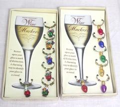 Boston Warehouse Christmas Theme Wine Glass Charms 2 Sets of 6 NIB - $12.86