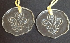 Christmas Ornament Clear Glass French Fleur De Lis Snowflake Set of 2 - $10.84