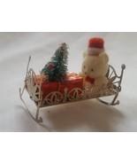 Vtg Baby Teddy Bear on Metal Bassinette Crib Christmas Xmas Ornament so ... - $13.81